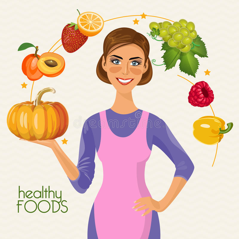 Gezonde levensstijl, een gezonde voeding en een dagelijks werk Kokende affiche royalty-vrije illustratie
