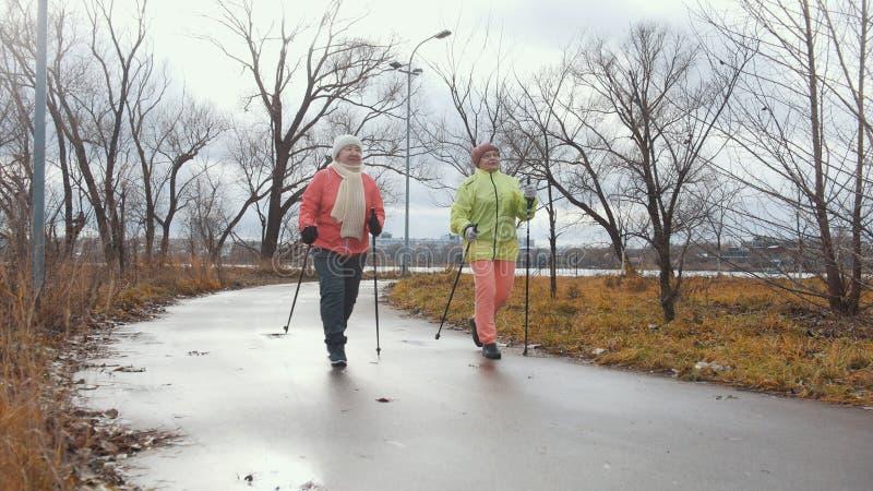 Gezonde levensstijl voor bejaarden - het noordse lopen in de herfstpark stock foto's