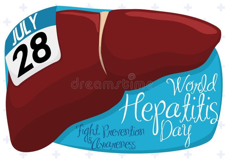 Gezonde Lever met Kalender en Teken voor de Dag van de Wereldhepatitis, Vectorillustratie vector illustratie