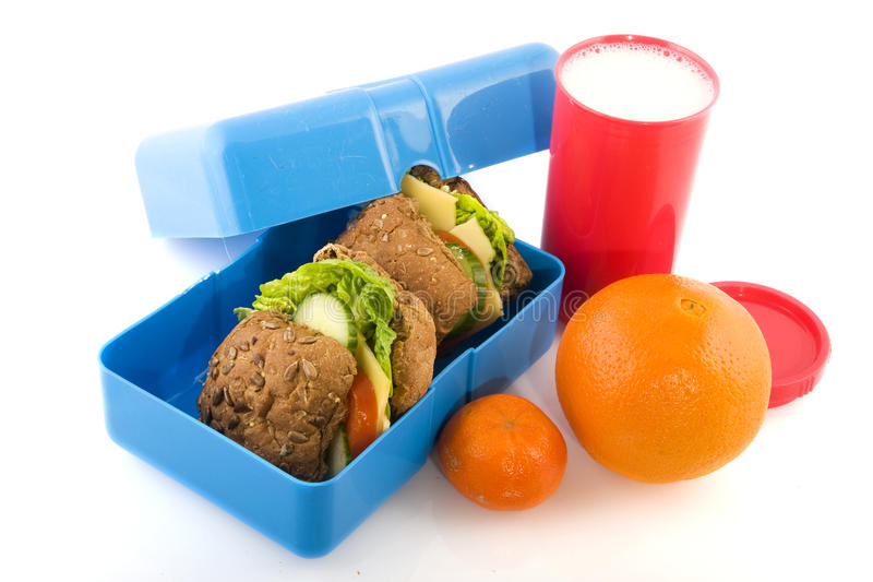 Gezonde lunchbox stock foto's