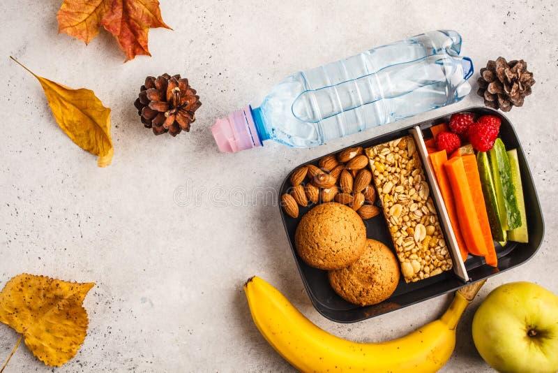 Gezonde maaltijd prep containers aan school met graangewassenbar, vruchten, royalty-vrije stock afbeelding