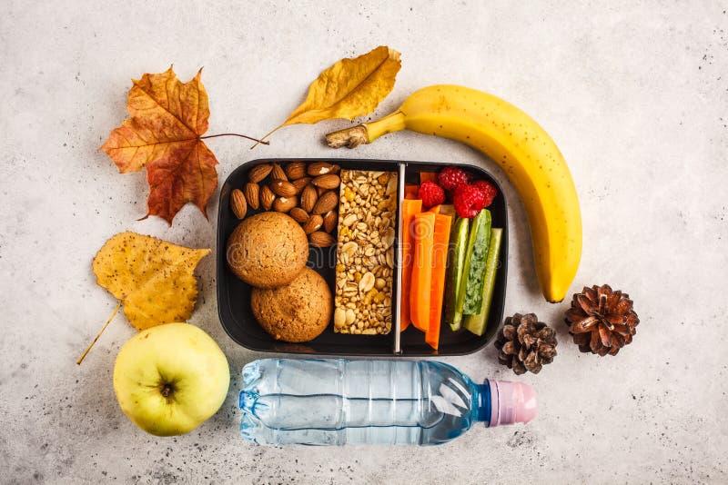 Gezonde maaltijd prep containers aan school met graangewassenbar, vruchten, royalty-vrije stock fotografie