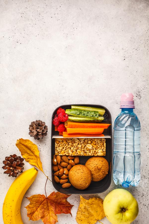 Gezonde maaltijd prep containers met graangewassenbar, vruchten, groenten royalty-vrije stock afbeelding