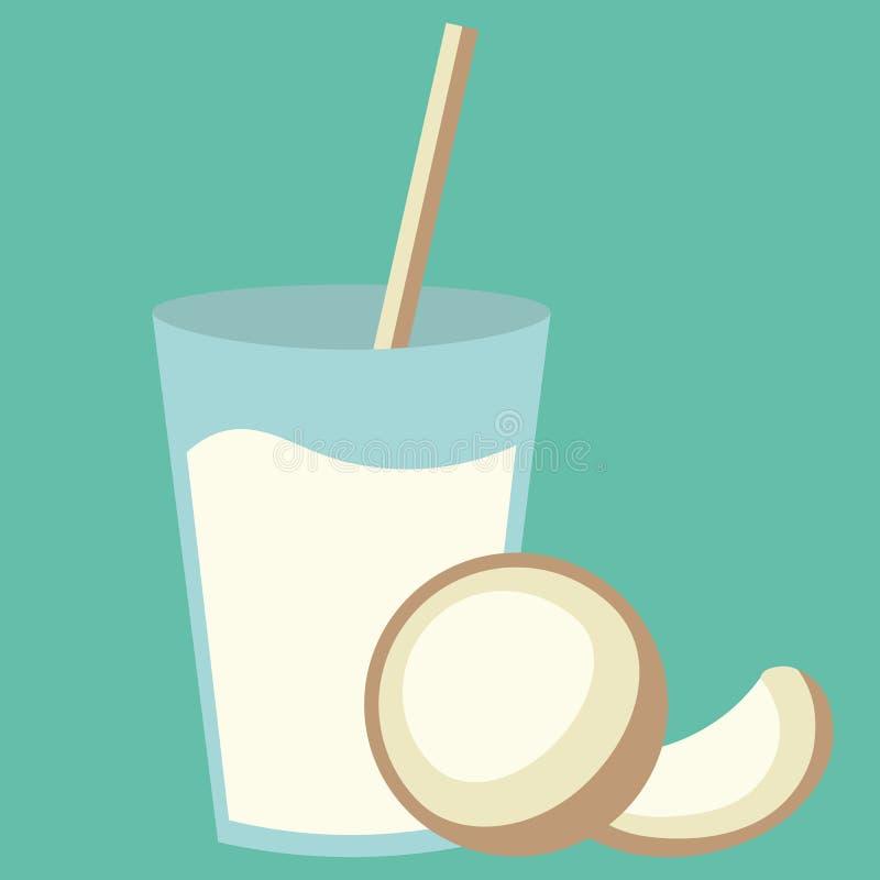 Gezonde natuurlijke gastronomische cocktaildrank met zoete kokosnoot De zomer verse tropische smoothie vector illustratie