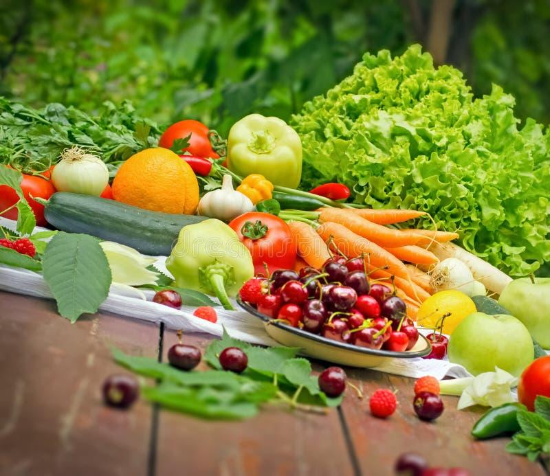 Gezonde natuurvoeding - verse vruchten en groenten royalty-vrije stock foto's