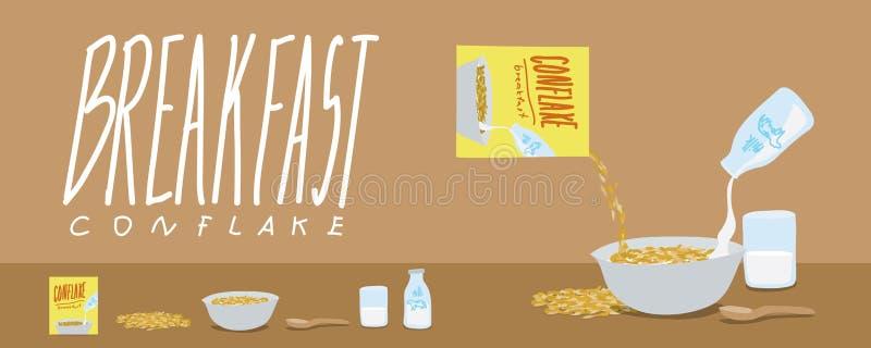 Gezonde ontbijt-Cornflakes en de Vector van de Melkplons royalty-vrije illustratie