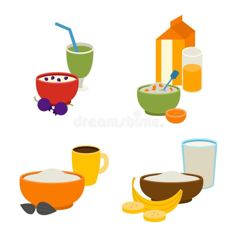 Gezonde ontbijt vectorreeks stock illustratie