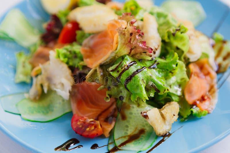 Gezonde restaurantvoedsel, zalm en de saladeclose-up van kabeljauwvissen stock foto's