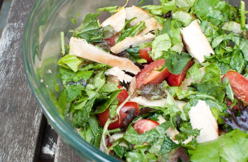 Gezonde salade met greens en kip royalty-vrije stock foto's
