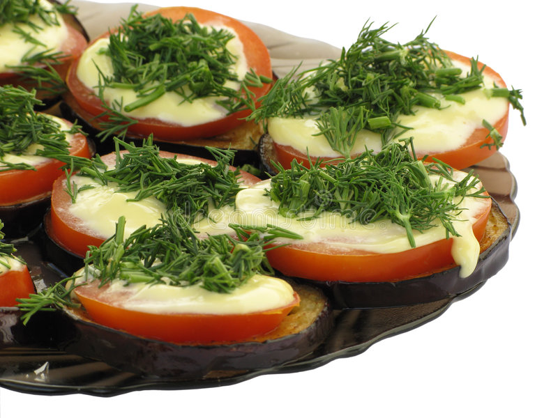 Gezonde sandwich met aubergine, tomaat en venkel stock foto's