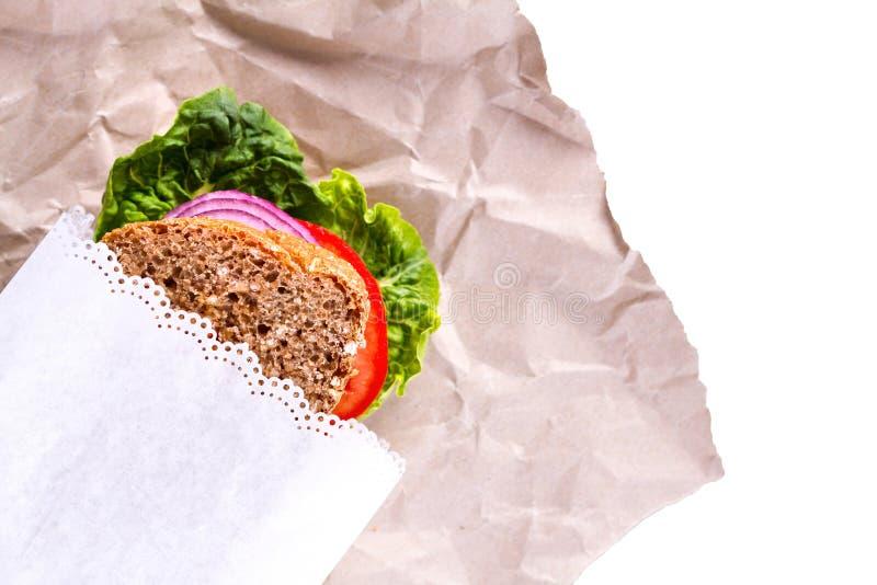 Gezonde Sandwich in Witboek stock fotografie