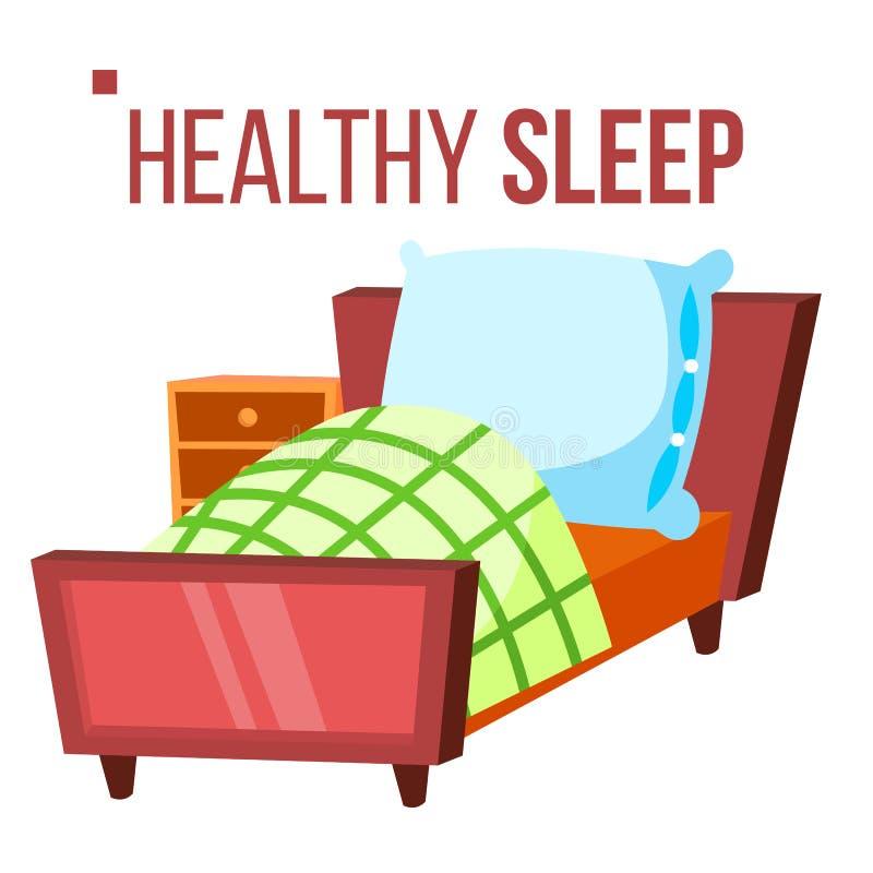 Gezonde Slaapvector Comfortabel bed Nachtzaal Geïsoleerde vlakke beeldverhaalillustratie vector illustratie