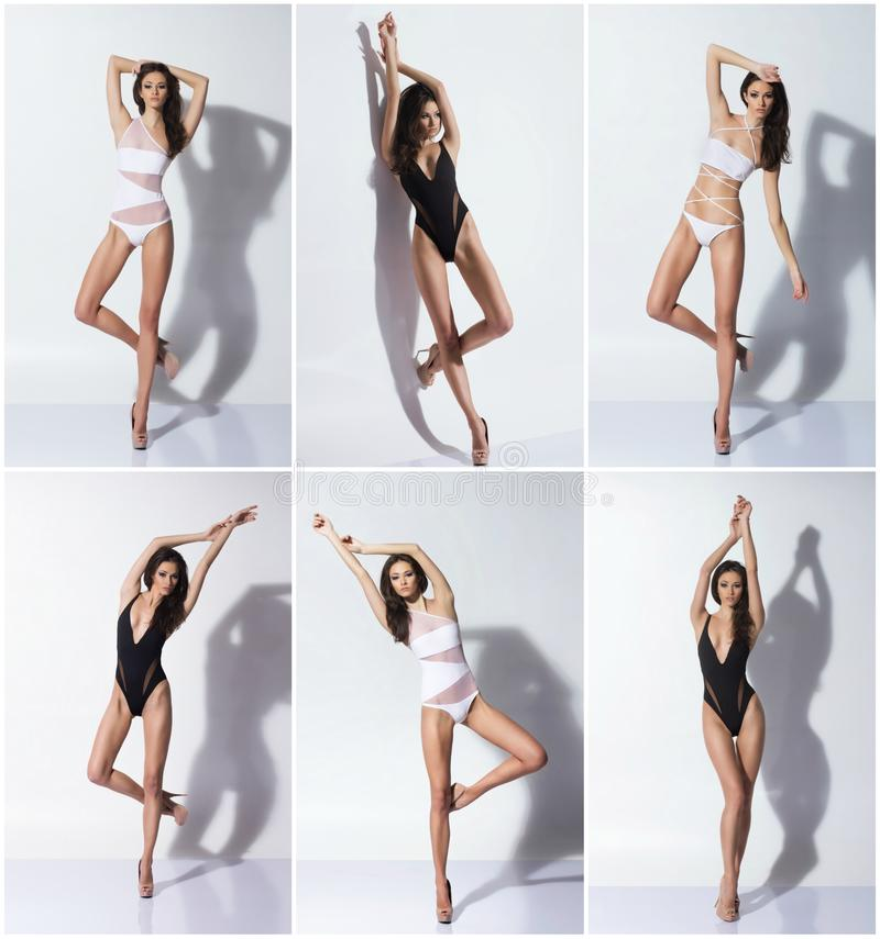 Gezonde, sportieve en mooie vrouwen op wit Het vet verliest, gezondheid, sport, fitness, voeding, gezonde liposuction, stock fotografie