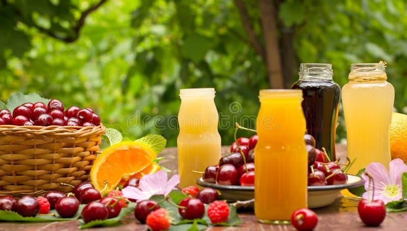 Gezonde, verfrissende die fruitdranken met organische vruchten worden gemaakt stock foto's