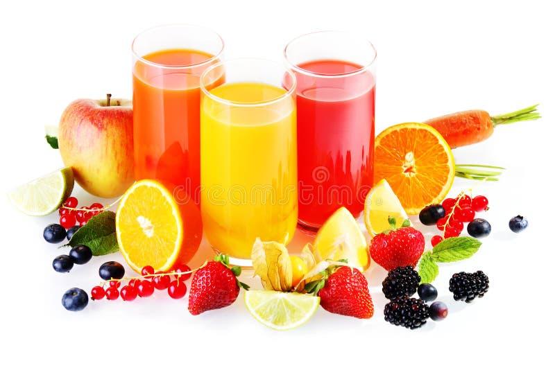 Gezonde verse dranken van fruit en groenten royalty-vrije stock foto's