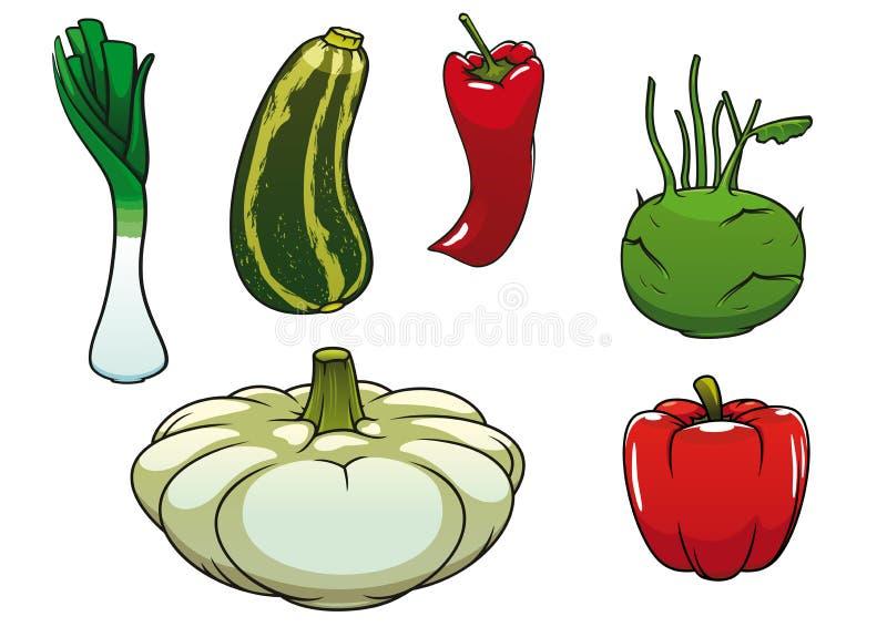 Gezonde verse en rijpe landbouwbedrijfgroenten vector illustratie