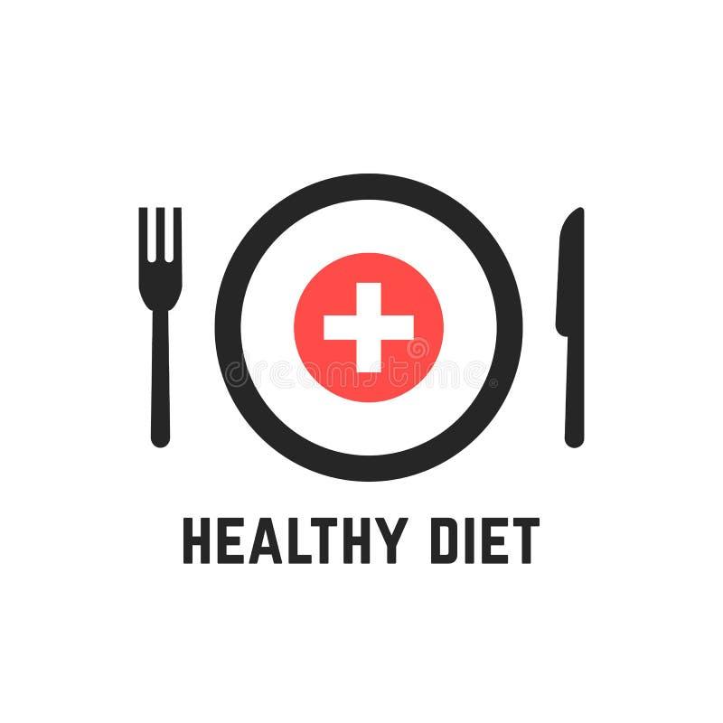 Gezonde voeding met tablewares vector illustratie