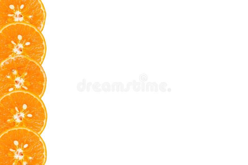 Gezonde voeding, oranje plakjes voor achtergrondtextuur met kopieerruimte stock fotografie