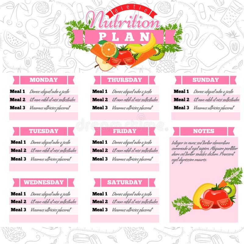 Gezonde voeding planning Gezond voedsel en het wekelijkse programma van het maaltijdplan Dietic tijdschema Vector illustratie royalty-vrije illustratie