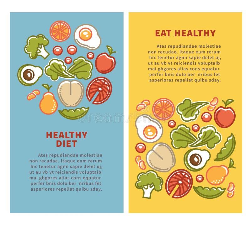 Gezonde voedsel en dieetvoedings vectoraffiches groenten, vruchten en graangewassenproteïne vector illustratie