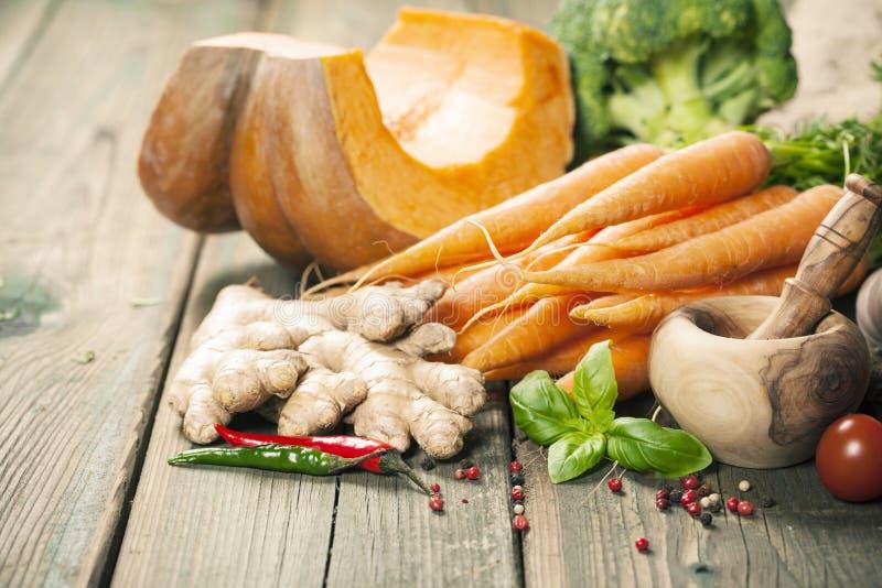 Gezonde voedsel kokende achtergrond Warm en op z'n gemak de herfstconcept stock afbeelding