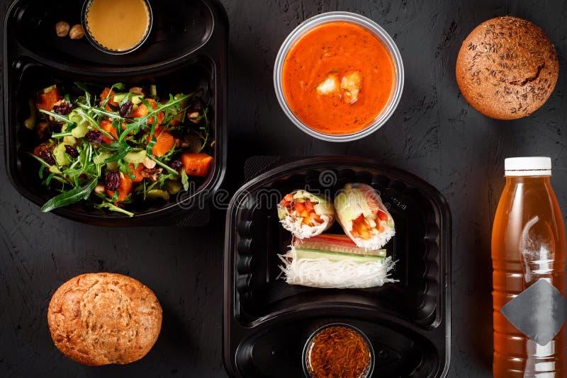 Gezonde voedsellevering Geschiktheidsvoeding stock fotografie