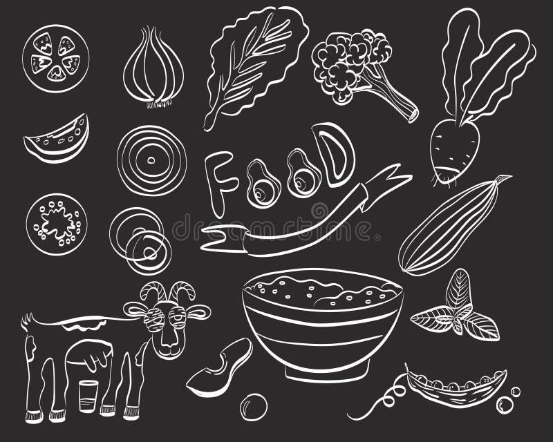 Gezonde voedselreeks van pictogram Vector illustratie stock illustratie