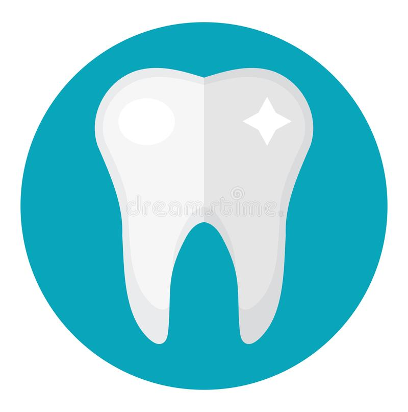 Gezonde witte tanden Pictogram vlakke stijl Tandheelkunde, tandartsconcept Geïsoleerdj op witte achtergrond Vector illustratie royalty-vrije illustratie