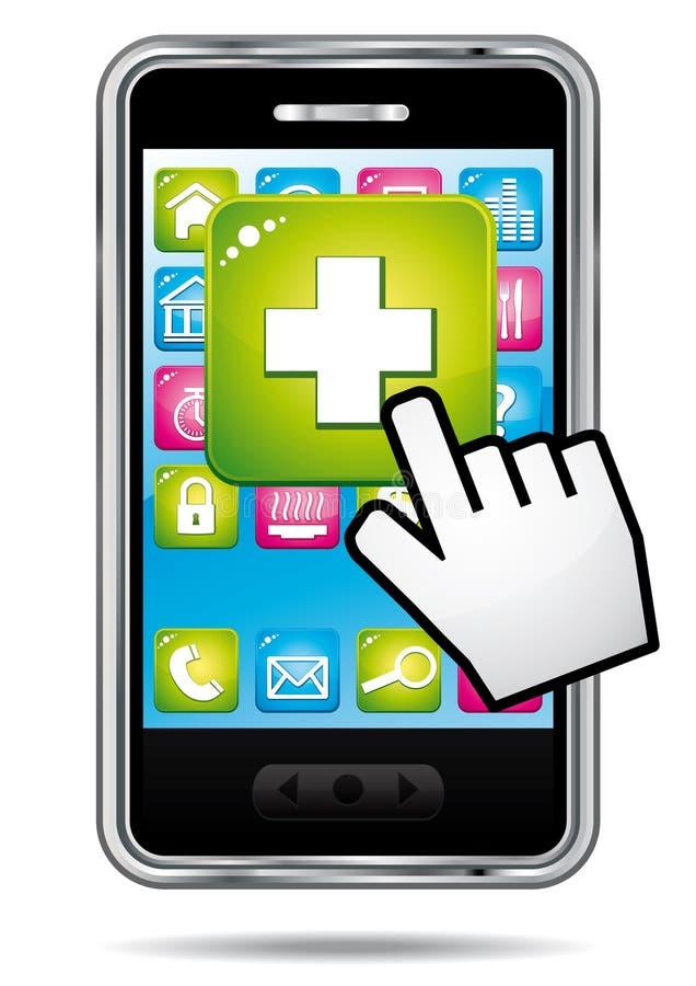 Gezondheid app op een smartphone. royalty-vrije illustratie