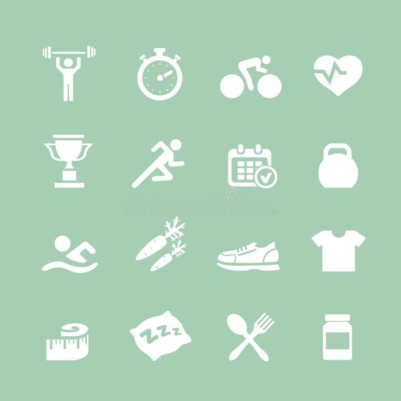 Gezondheid en Geschiktheids witte vector vastgestelde pictogrammen met a royalty-vrije illustratie