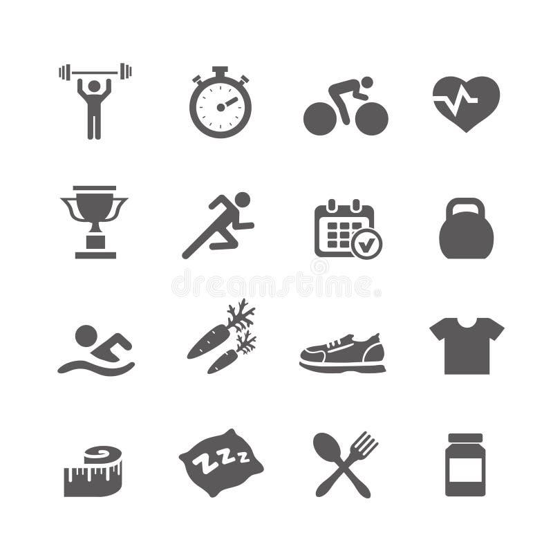 Gezondheid en Geschiktheidspictogrammen vector vastgestelde pictogrammen met a stock illustratie