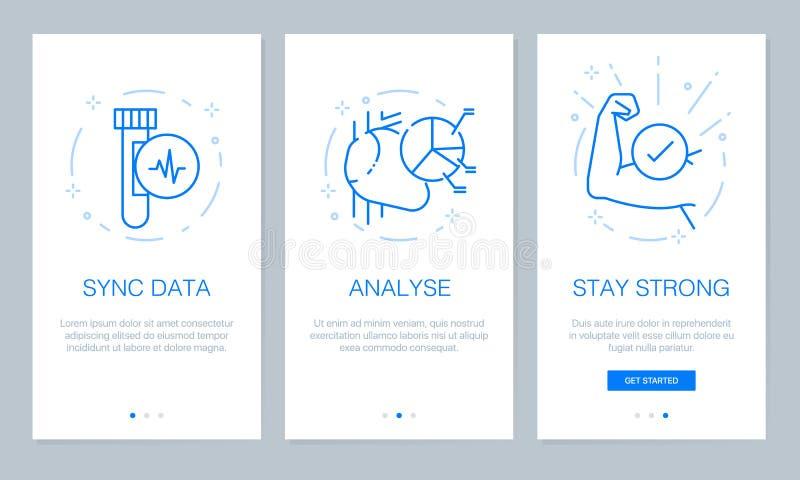 Gezondheid en medisch concept die app de schermen onboarding Modern en vereenvoudigd vector de schermenmalplaatje van de illustra stock illustratie