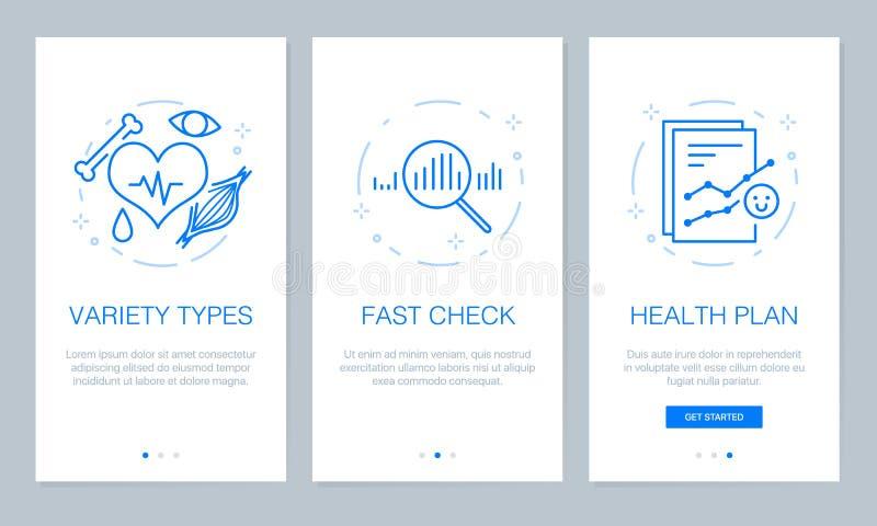 Gezondheid en medisch concept die app de schermen onboarding Modern en vereenvoudigd vector de schermenmalplaatje van de illustra royalty-vrije illustratie