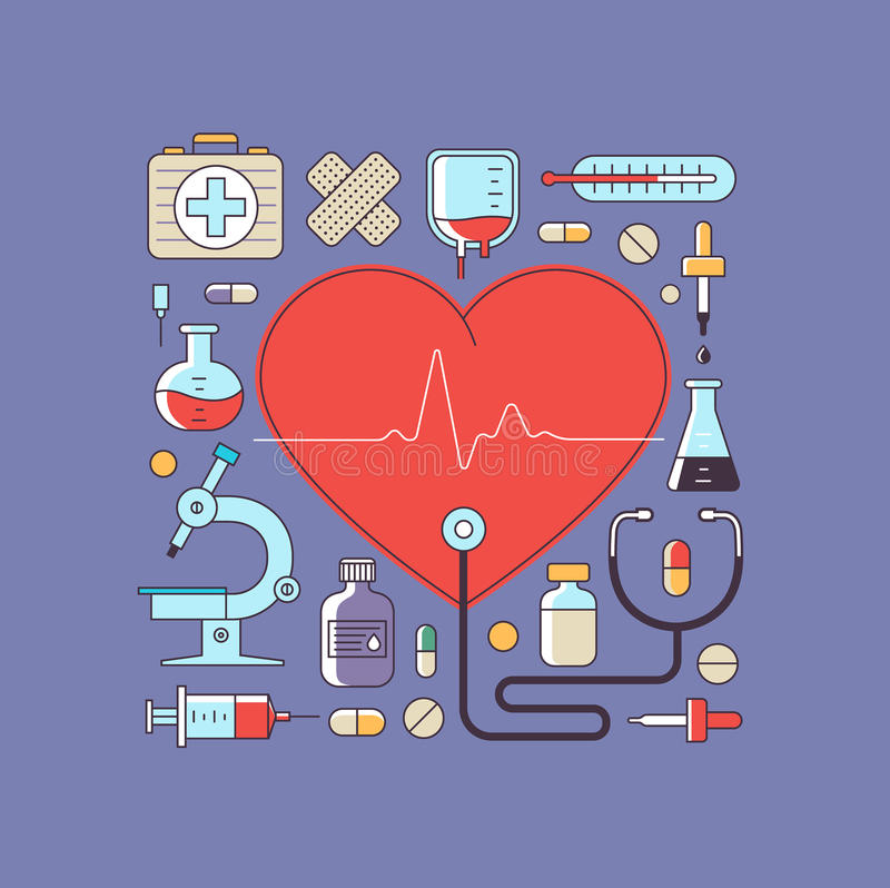 Gezondheid en Medische behandeling royalty-vrije illustratie