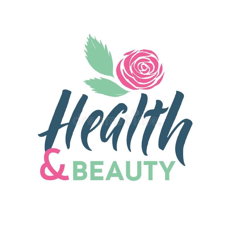 Gezondheid en Schoonheidsstudio Vectorembleem Slag Roze Rose Flower Illustration Merk het Van letters voorzien vector illustratie