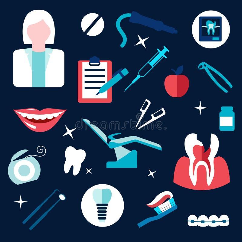 Gezondheid en tand als thema gehade vlakke pictogrammen vector illustratie