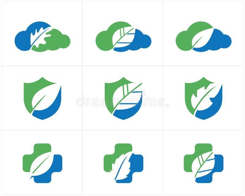 Gezondheid en zorgembleemontwerp, apotheekpictogram, eiken blad in schild, wolk en dwars vectorillustratie vector illustratie