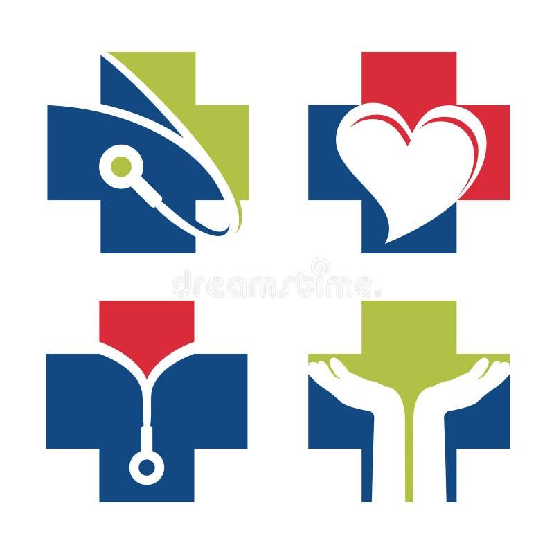 Gezondheid Medische Dwarsarts Set Logo Symbol Isolated vector illustratie