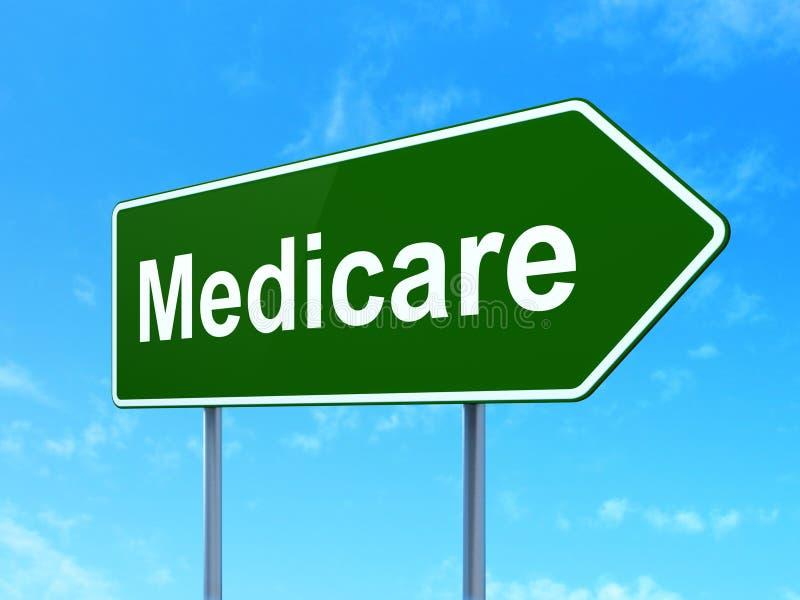 Gezondheidsconcept: Gezondheidszorg voor bejaarden op verkeerstekenachtergrond stock illustratie