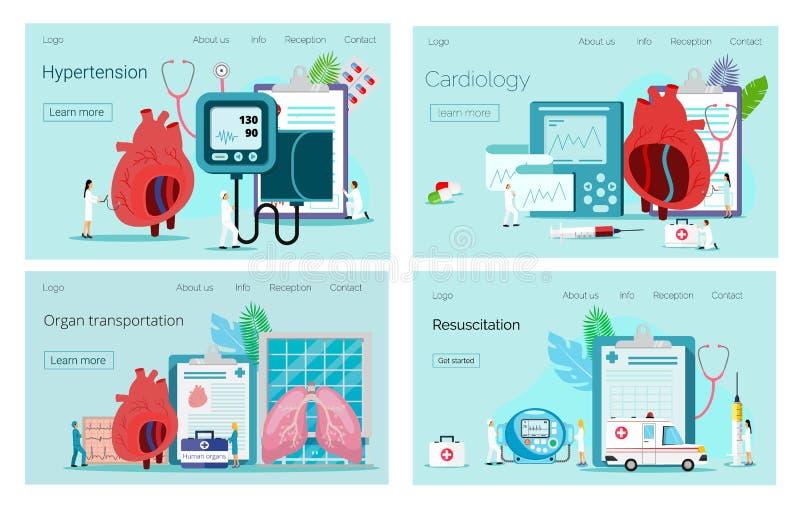 Gezondheidsconcept hypotensie en hypertensieziekte Cardiologie, orgaanvervoer, reanimatieconcept stock illustratie