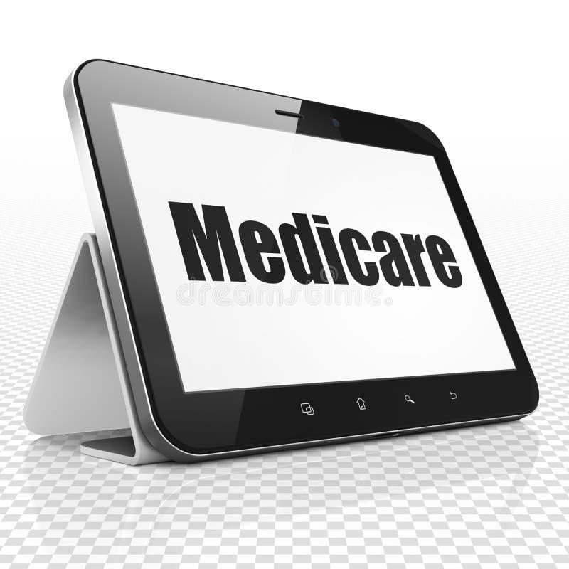 Gezondheidsconcept: Tabletcomputer met Gezondheidszorg voor bejaarden op vertoning stock illustratie