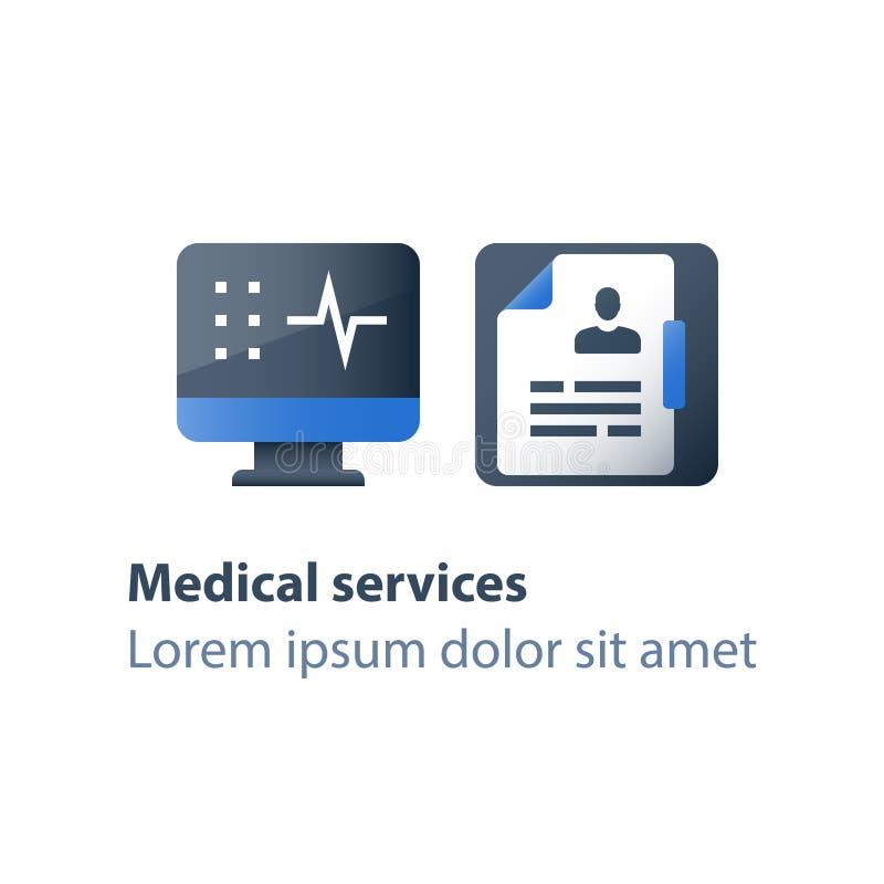 Gezondheidscontrole omhoog, medisch examen, testresultaat, de het ziekenhuisdiensten, ziekteverlofcertificaat, geduldige kaart, g stock illustratie