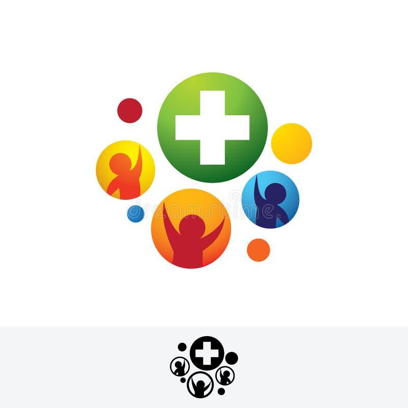 Gezondheidsdiensten, medisch het symboolembleem van het forumembleem vector illustratie