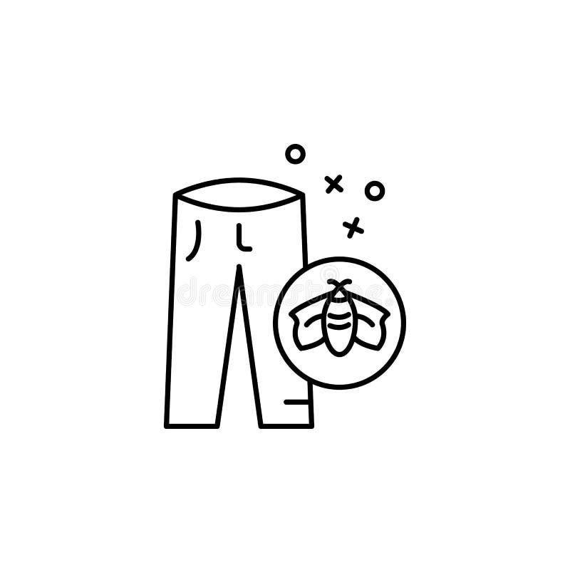 Gezondheidspictogram voor kleding in een broek Element van het pictogram van de eigenschappen van de stof stock illustratie