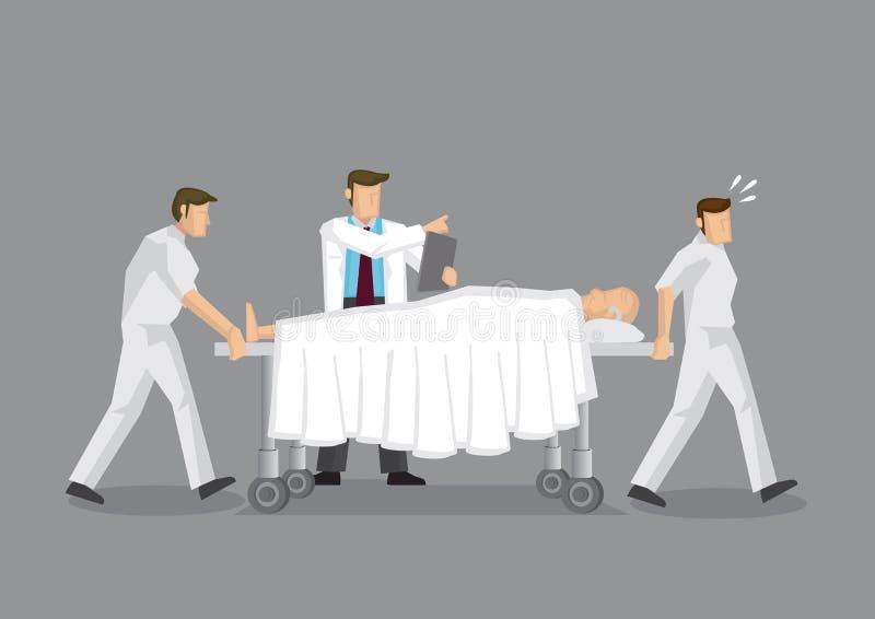 Gezondheidswerkers en Patiënt op Mobiel het Ziekenhuisbed tijdens E royalty-vrije illustratie