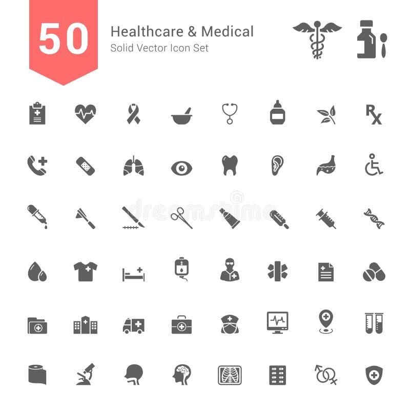 Gezondheidszorg en de Medische Reeks van het Pictogram 50 stevige Vectorpictogrammen vector illustratie