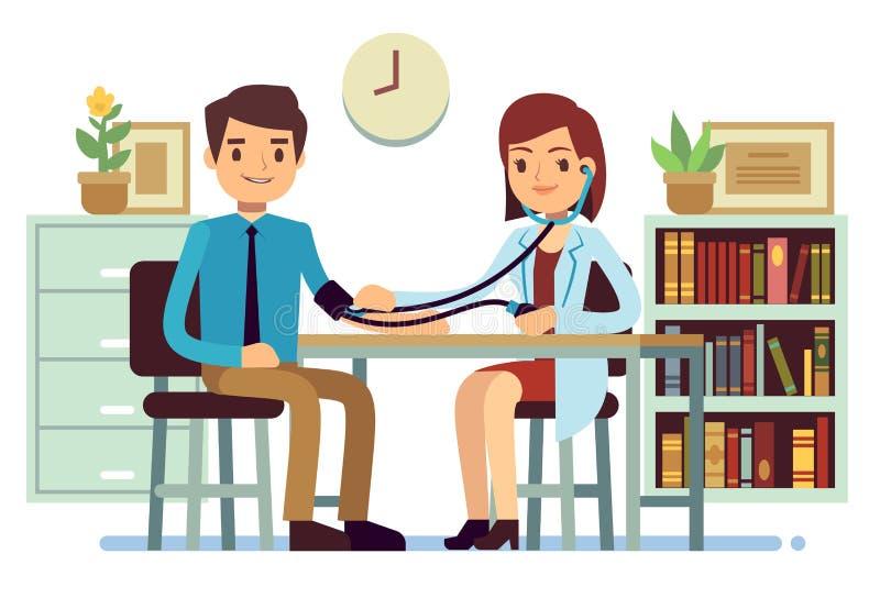 Gezondheidszorg en geneeskunde vectorconcept met arts die patiëntenbloeddruk controleren stock illustratie