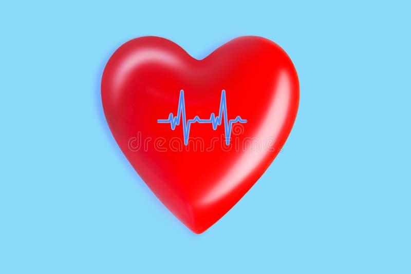 Gezondheidszorg en geneeskundeconcept sluit omhoog van rood hart met ecglijn op blauwe achtergrond stock illustratie