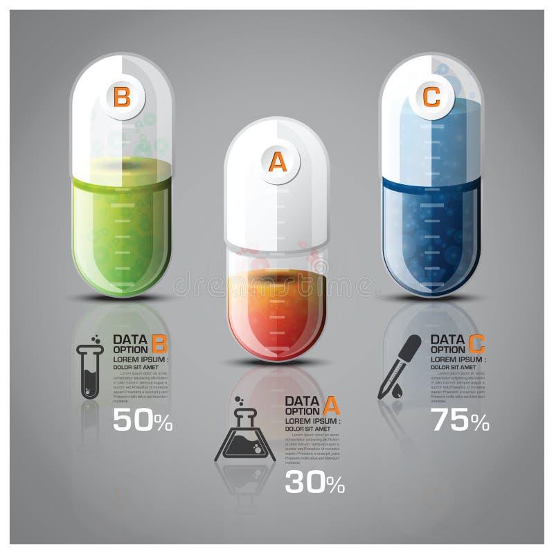 Gezondheidszorg en het Medische Infographic-Diagram van de Pillencapsule royalty-vrije illustratie