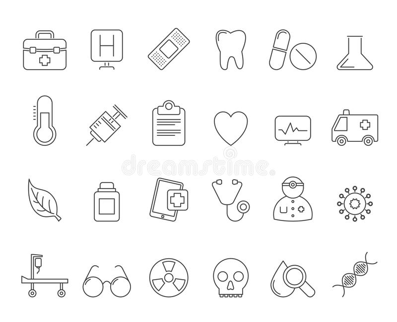 Gezondheidszorg en het ziekenhuispictogrammen stock illustratie